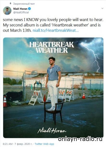Найл Горан объявил дату выхода второго альбома 'Heartbreak Weather'